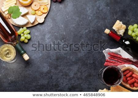 Ekmek et şarap yeşil şişe kırmızı Stok fotoğraf © inaquim