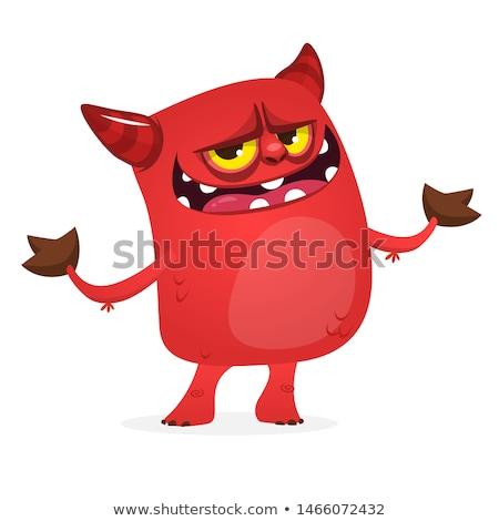 Kövér ördög rajz kicsi karakter tűz Stock fotó © fizzgig