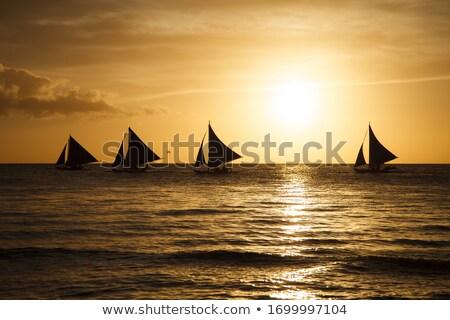 セーリング · ボート · 日没 · 島 · フィリピン · 自然 - ストックフォト © travnikovstudio