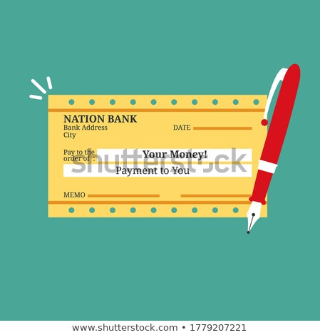 Firmar un cheque. Sign a bank check Stock photo © lunamarina