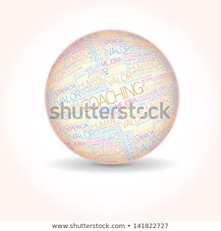 Stock fotó: Személyiségfejlődés · szó · gömb · spanyol · kezek · tart