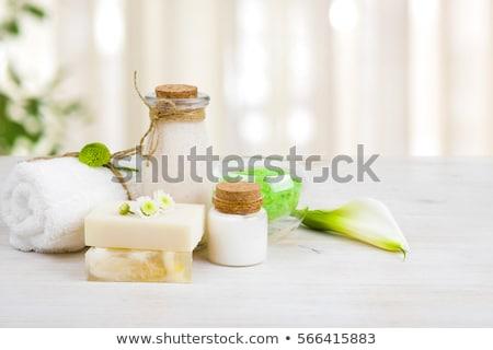 havlu · yeşil · sabun · taşlar · beyaz · sağlık - stok fotoğraf © taden