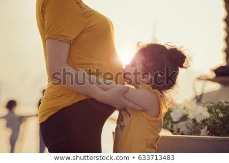 portré · spanyol · terhes · nő · izolált · fehér · kezek - stock fotó © dacasdo