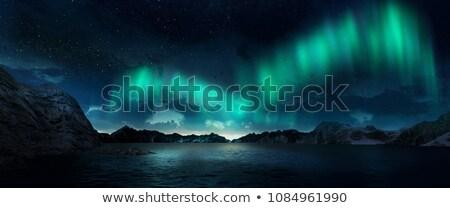 北方 ライト オーロラ 3dのレンダリング 水 丘 ストックフォト © Elenarts