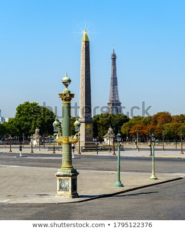 egyptian obelisk of luxor and eiffel tower view from the place stock photo © anshar