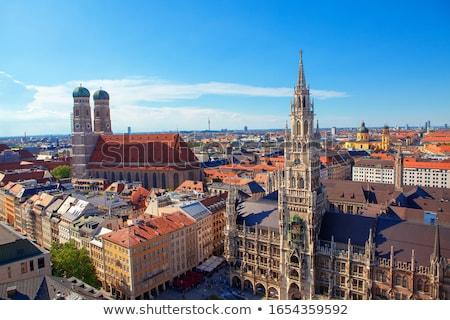 munich gothic city hall and frauenkirche at marienplatz bavari stock photo © bertl123