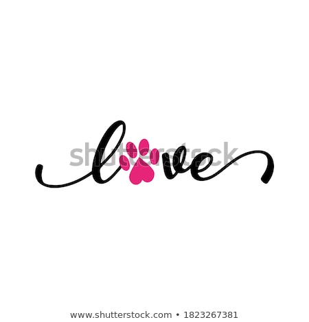 Photo stock: Amour · patte · chien · coeur · design · fond