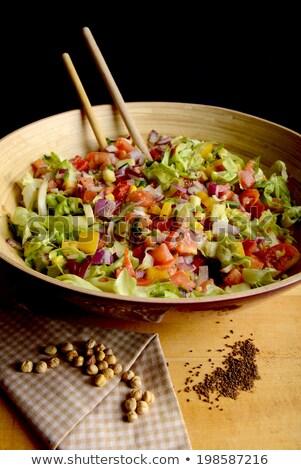Büyük çanak taze sebze salata yan ahşap Stok fotoğraf © jeliva