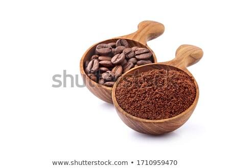 Kaşık fasulye zemin kahve iki beyaz Stok fotoğraf © Tagore75