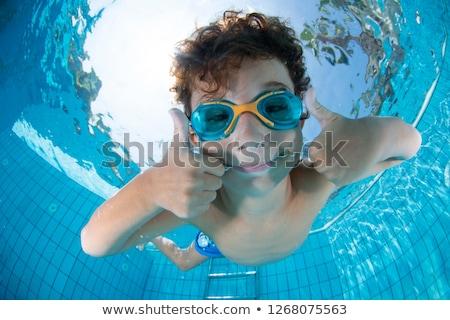 ストックフォト: 子 · スイマー · スイミングプール · 青 · 色 · 水