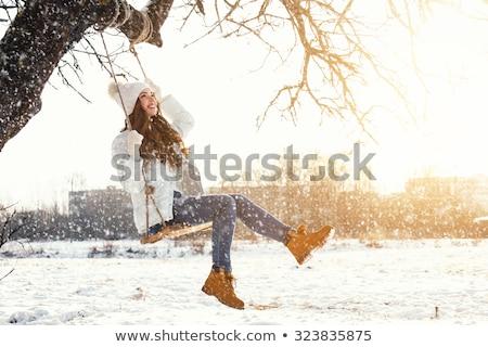 Mutlu kız salıncak kız çocuk park gülümseme Stok fotoğraf © FOTOYOU
