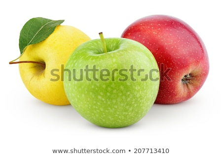 kettő · zöld · almák · mosolyog · sír · fehér - stock fotó © bloodua