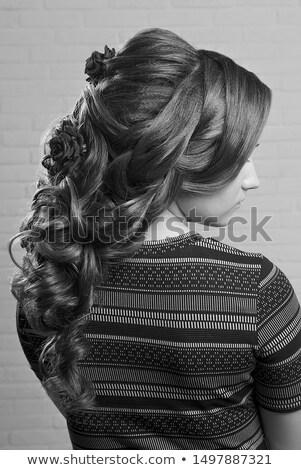 portre · güzel · bir · kadın · gül · goncası · kadın · yüz · gül - stok fotoğraf © nejron