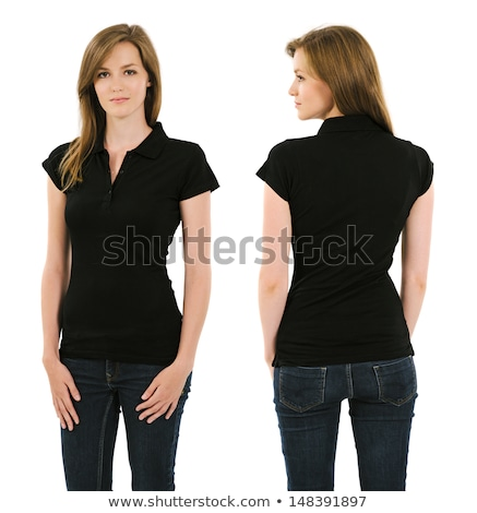 young beautiful brunette woman in black top and jeans isolated on white background stock photo © nejron