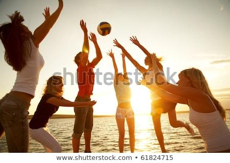 Stok fotoğraf: Genç · kız · oynama · plaj · voleybol · mutlu · güneş
