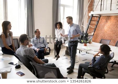 Chef d'équipe résumé foule contact communication numérique Photo stock © designers