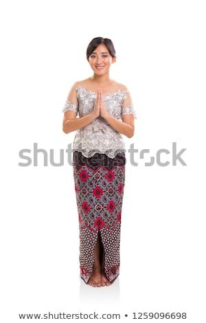 portret · jonge · vrouw · permanente · bidden · positie · witte - stockfoto © bmonteny