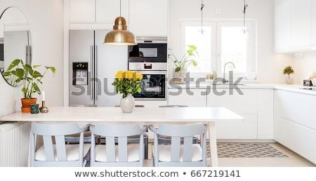 parlak · modern · mutfak · kare · her · ikisi · de · doğal · ışık - stok fotoğraf © emirkoo