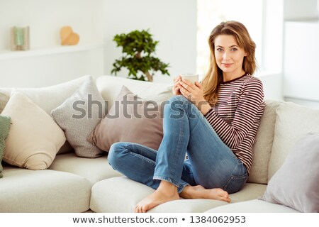 Stock photo: Woman having chill time of drinking coffee