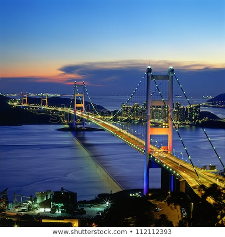 Tsing ma Bridge at night, in Hong Kong Stock photo © leungchopan