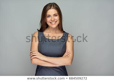 Zdjęcia stock: Piękna · kobieta · broni · uśmiechnięty · stwarzające · fałdowy