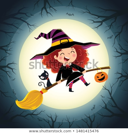 happy halloween cute little witch and pumpkin card vector stock photo © carodi