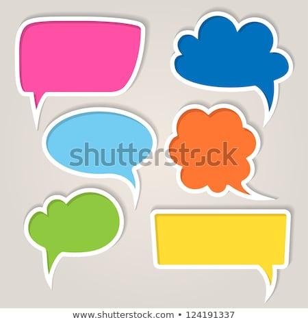 blank speech bubble on blue and orange background stock photo © tashatuvango