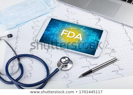 Tüdőgyulladás kirakat orvosi tabletta diagnózis fekete Stock fotó © tashatuvango