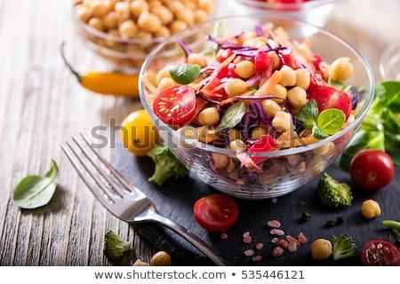 Vegetáriánus étel tányér levél olaj vacsora eszik Stock fotó © Tatik22
