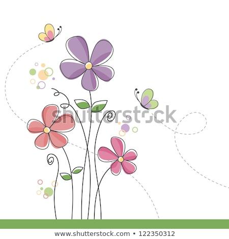 punteggiata · fiore · nota · illustrato · linee · testo - foto d'archivio © Soleil