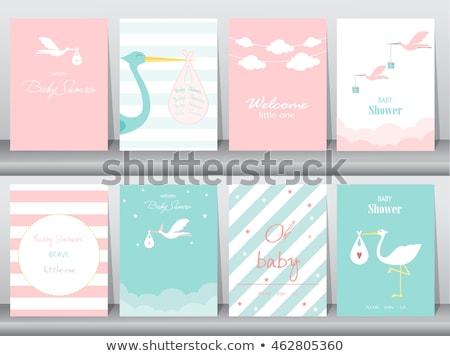 Foto stock: Cegonha · bebê · cartão · gradiente · família