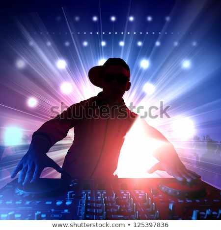 party dj at turntable illustration vector illustration