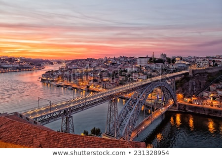 ストックフォト: 橋 · 日没 · ポルトガル · 表示 · リスボン · 水