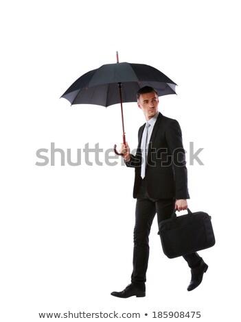 Portret zakenman permanente paraplu laptop zak Stockfoto © deandrobot