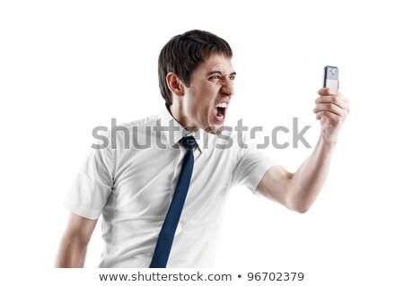 Zły biznesmen komórka biały działalności Zdjęcia stock © deandrobot