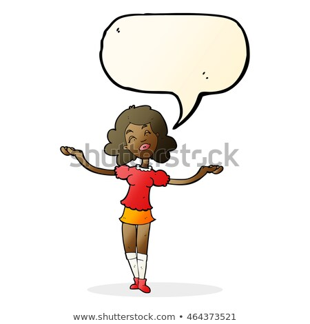 cartoon woman taking praise with speech bubble Stock photo © lineartestpilot
