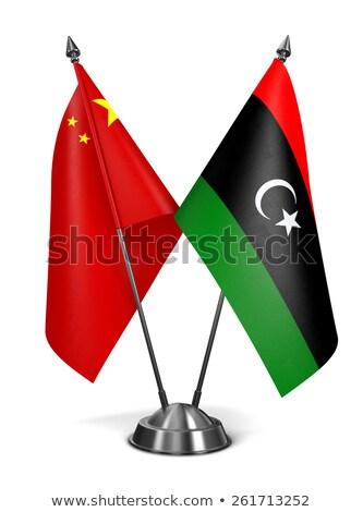Cina Libia miniatura bandiere isolato bianco Foto d'archivio © tashatuvango