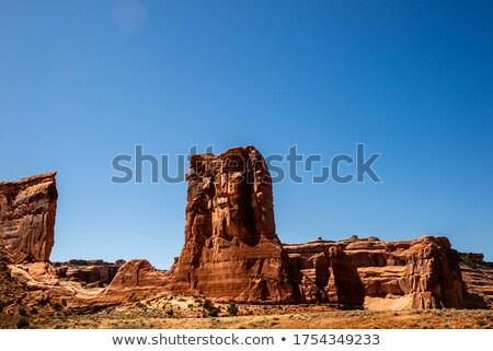 Ovelha rochas maneira nuvens verão Foto stock © morrbyte
