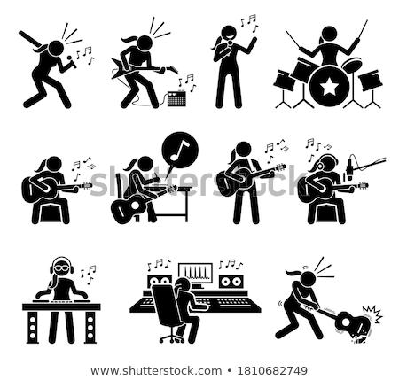 Pálcikaember gitár testmozgás siker hang információ Stock fotó © Ustofre9