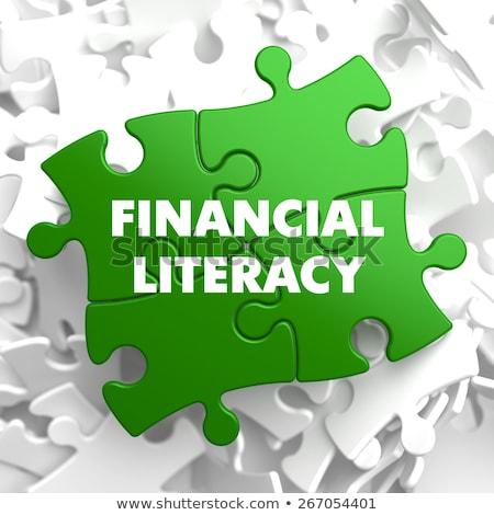 Financeiro alfabetização verde quebra-cabeça branco treinamento Foto stock © tashatuvango