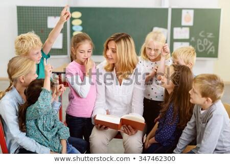 Modern nő tanár gyerekek iskolás iskola Stock fotó © vectorikart