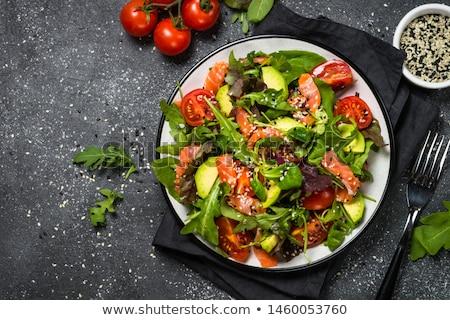 füstölz · lazac · saláta · zöldség · finom · egészséges · étkezés · étel - stock fotó © 1986design