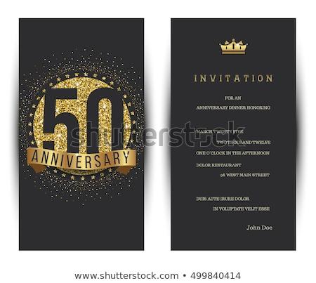 ötvenedik házassági évforduló meghívó piros illusztráció arany Stock fotó © Irisangel