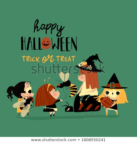 Halloween redhair little witch, vector illustration Stock photo © carodi