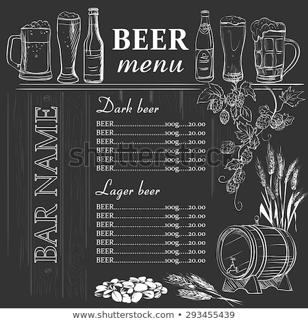 beer menu hand drawn on chalkboard stock photo © netkov1