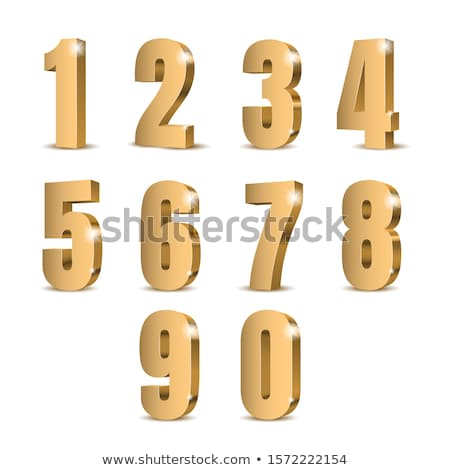 Stock photo: 8 Number Vector golden Web Icon