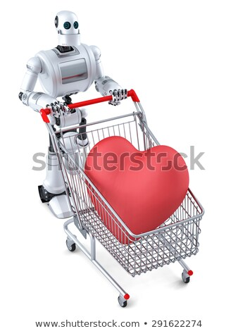 robot with shopping cart and huge red heart in it isolated contains clipping path stock photo © kirill_m