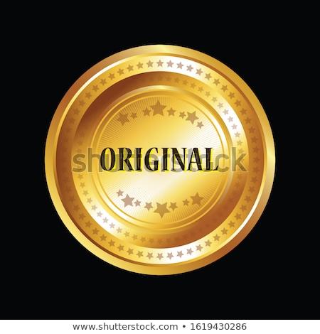 100 · százalék · eredeti · arany · vektor · ikon - stock fotó © rizwanali3d