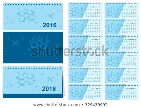 2016 · asztal · naptár · év · hét · hónapok - stock fotó © orensila