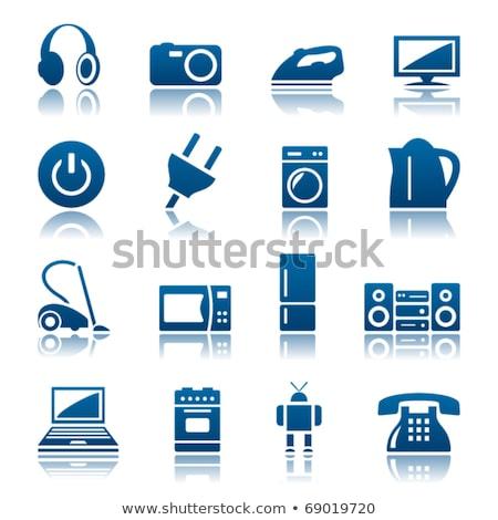 Plug signo azul vector icono botón Foto stock © rizwanali3d